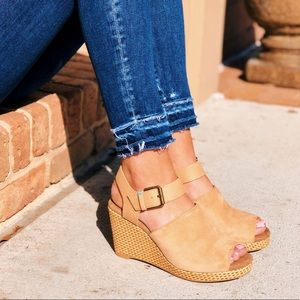 NWT TOMS Honey Suede and Leather Tropez Wedges